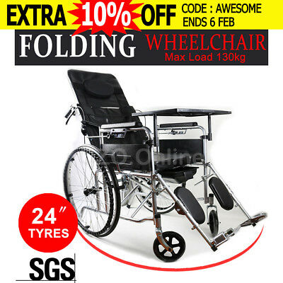 "24"" Folding Wheelchair Manual Mobility Aid Park Brakes Armrests Dining Plate NEW"