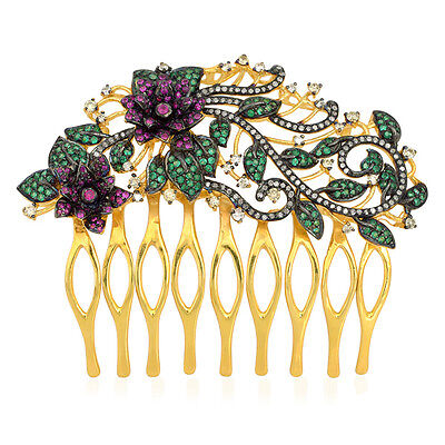 Ruby Emerald Pave Diamond Sterling Silver Designer Hair Comb Women Jewellery