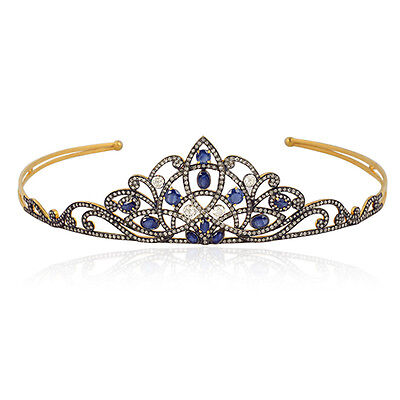 5.3ct Sapphire Diamond Designer Princess Tiara/Crown Jewellery Sterling Silver