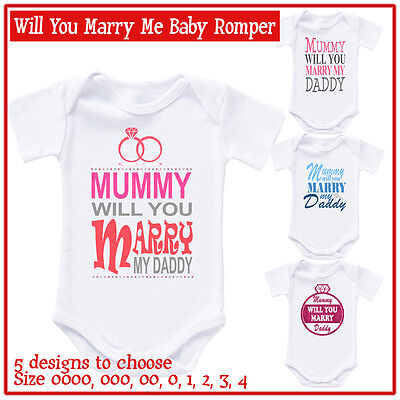 Personalised Baby Romper Bodysuit Mummy will you marry my daddy Valentine