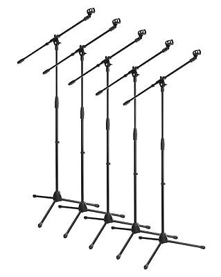 5x HIGH QUALITY PROFESSIONAL BOOM MICROPHONE MIC STAND HOLDER SET ADJUSTABLE BK
