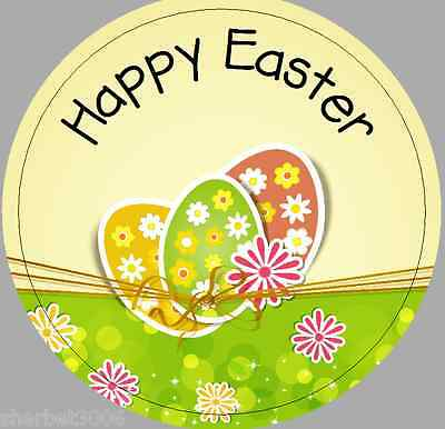 24 x 40mm Personalised Stickers Round Happy Easter Eggs Yellow Green Stickers