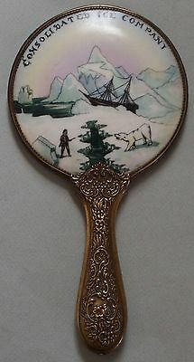Large Consolidated Ice Company Advertising Hand Mirror, Not Pocket, A Beauty