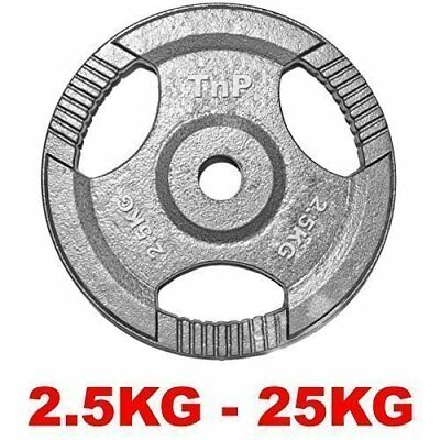 "1"" TRI-GRIP Cast Iron Disc Weights Plate Barbell Weight Fitness Gym 1.25 to 25"