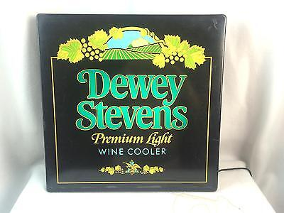 Vintage Dewey Stevens Premium Light Wine Cooler Lighted Sign Man Cave Basement