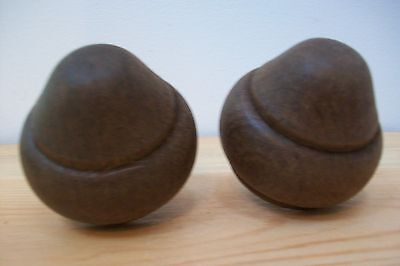 Pair of vintage french wooden finials for furniure decoration  mounts #9