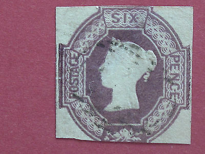 Lot #1885 Victoria 1847 6d Lilac 2 Margins Embossed Used SG59 (1)