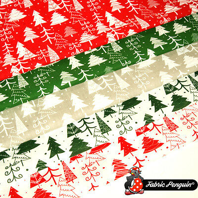 Christmas Tree Fabric Metre Fat Quarter Craft Bunting Red Green