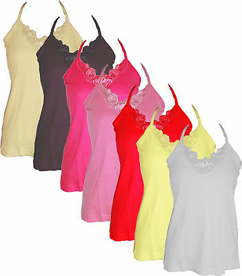 Ladies / Womens Cotton Camisole Strappy Vest Top with Lace Packs of 1 or 3
