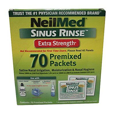 2 Pack NeilMed Sinus Rinse Extra Strength Soothing Saline - 70 Packets Each