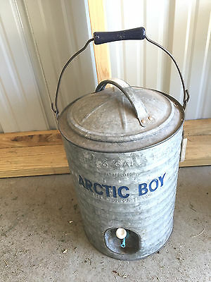 BS1 Vtg Arctic Boy  3 Gallon Galvanized Water Cooler Metal Spigot Heavy Duty USA