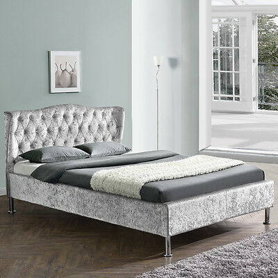 Silver Crushed Velvet Fabric Upholstered Designer Winged Bed Frame Double King