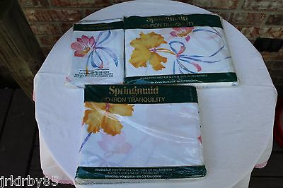 Vintage Sheet Set flowers White w Pink Yellow Full Double Size Springmaid