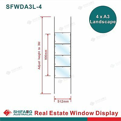 Real Estate Window Display 4x1 A3L, Acrylic Cable Hanging Display,Window Signage