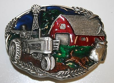 Vintage 1981 Solid High End Brass Farmer Farming Tractor Belt Buckle RARE Mint