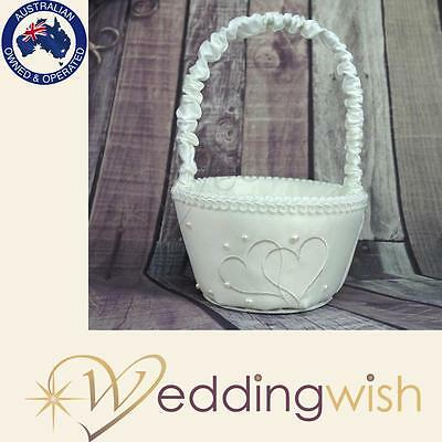 Ivory Heart Flowergirl Basket, Wedding Flower Girl Basket