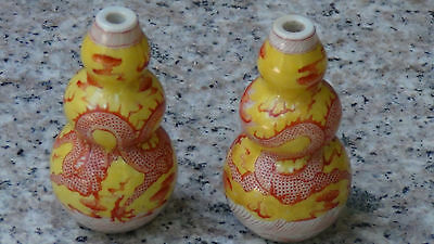 PAIR ANTIQUE 19c CHINESE TRIPLE- GOURD SCHOLAR VASES , 5 CLAWED DRAGONS & PEARLS
