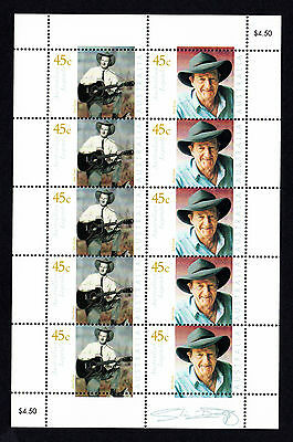 Australian Legends Slim Dusty 45c *  10 MNH Stamp Sheet