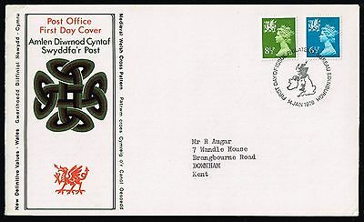 1976 Wales definitives 8½p. & 6½p. on FDC (SG#W22-W26)