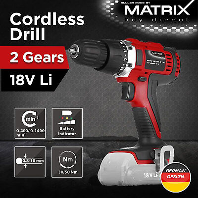 Matrix 18V Cordless Drill Driver 4.0Ah Rechargeable Battery Charger Power Tool