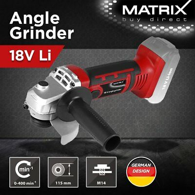 New Matrix 115MM Cordless Angle Grinder 1.5Ah Battery Charger 18V Power Tool