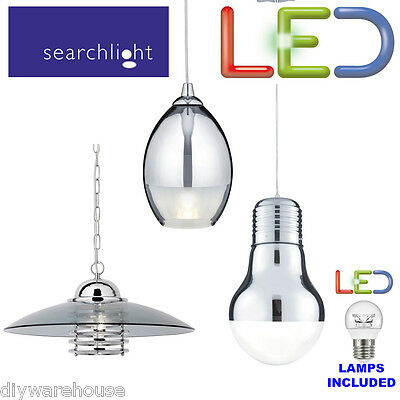 Searchlight Branded Quality Chrome Hanging Pendant Led Light Fitting Glass Shade