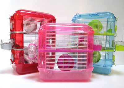 Fantazia Large Glitter Dwarf Hamster Mouse Small Pet Cage 2 or 3 Storey Levels