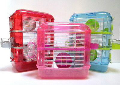 Fantazia Large Glitter Hamster Dwarf Mouse Cage Pink, Blue, Red 2 and 3 Storey