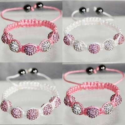 5-Ball Shamballa Paris Bracelet Disco Crystal Beads Children Girls Kids Size