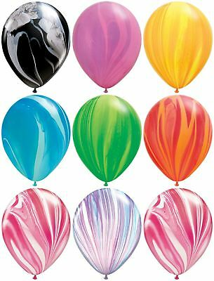 "Qualatex 11"" SuperAgate Marble Rainbow Latex Balloons Party Wedding Decoration"