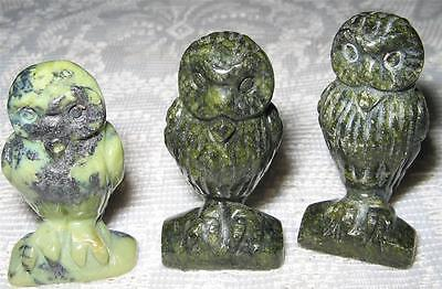 Lovely Gemstone/crystal Green Serpentine Carved 4Cm Owl / Mint Cond /reiki / A1+