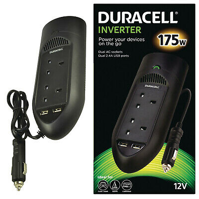 Duracell DRINV15-UK 175W Power Inverter with Dual AC and USB Sockets