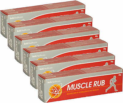 Bells Muscle Rub Cream 40g x 6 SIX PACK use for aching joints & muscles