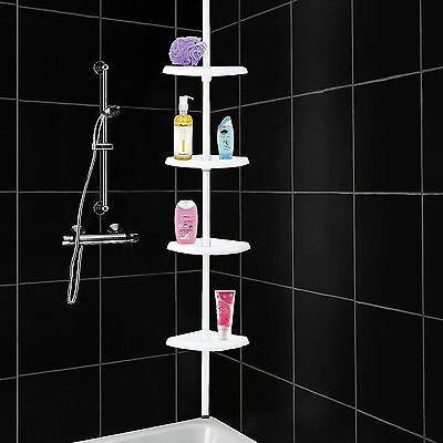 4 Tier Adjustable Telescopic Corner Shower Bathroom Shelf Organiser Caddy White