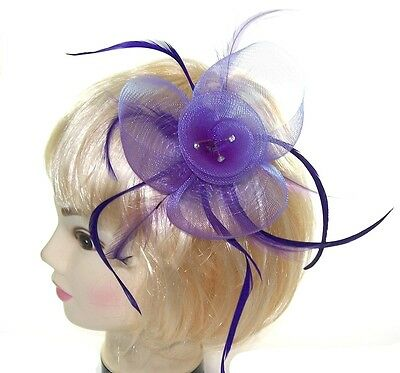 Fascinator in soft lilac and on a comb with diamante, ladies day ,Prom