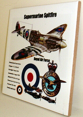 RAF Supermarine Spitfire with Royal Air Force badge and data CERAMIC TILE