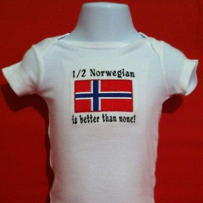 1/2 Norwegian is better than none! Norway Flag  Baby Bodysuit Embroidered