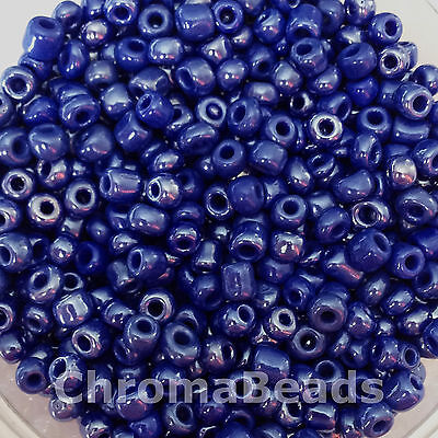 50g glass seed beads - Deep Blue Opaque Lustered - approx 4mm (size 6/0) craft