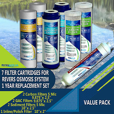 7 Filters 1-Year Replacement Filter Kit for 5 & 6-Stage Reverse Osmosis