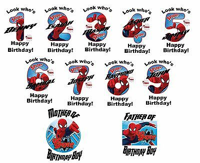 Spiderman hero Birthday numbers T shirt Iron on Transfer personlized age mom Dad