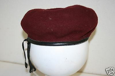 Great Rare Vintage US ARMY Bancroft Size 7 Wool Original Military Maroon Beret