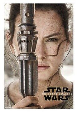 FORCE AWAKENS ~ REY WITH SABER ~ 22x34 Star Wars Poster ~ NEW/ROLLED!