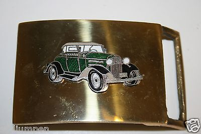 Vintage 1970's Solid Brass 1930's Ford Model A Deluxe Roadster Belt Buckle