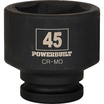 Powerbuilt 3/4-Inch Drive 6 Point Metric Impact Socket 45mm. Chrome Moly Steel