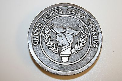 Vintage United States Army Reserve Solid Circular Brass Belt Buckle RARE USA
