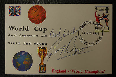 Gerry Byrne Signed 1966 England World Cup Winners Football Cover