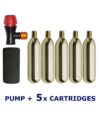 Bike CO2 pump cycle tyre tube inflator Presta Schrader 5 x 16g gas cylinders