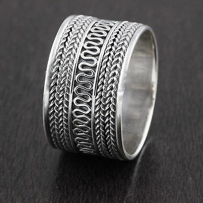 Genuine Solid 925 Sterling Silver Vintage Style Bali Wedding Band Ring 13mm Wide