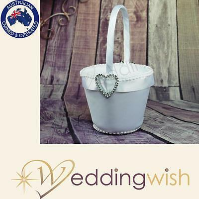 Silver Heart Flowergirl Basket, Wedding Flower Girl Basket
