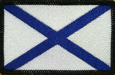 Russian Navy Naval Ensign Flag Iron-On Military Patch Morale  BLACK Border #20